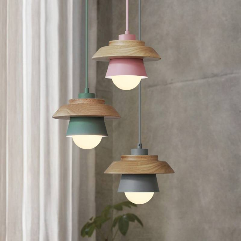 Creative Colorful Wood Bowl Shades Pendant Lamps Ceiling Pendant Lights