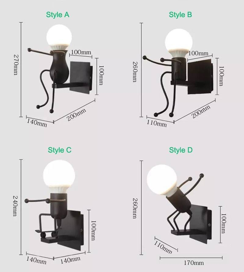 Iron Cute Dwarf Shape Creative LED Wall Lamp Indoor Wall Lamps