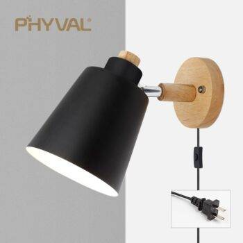 Nordic Macaron Color Iron & Wood Sconce Wall Lamp Indoor Wall Lamps