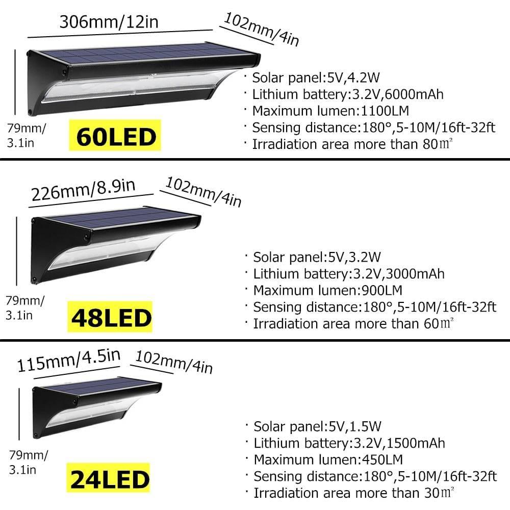 LED Solar Motion Sensor Security Wall Lamp Solar Powered Security Lights