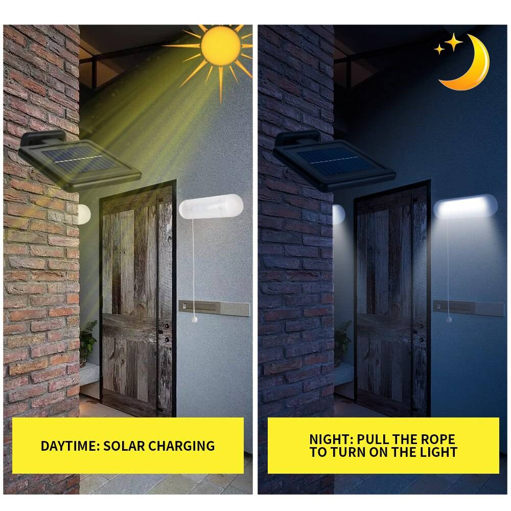Solar Wall Lamps for Outdoor & Indoor with Pulling Switch Exterior Wall Lamps Solar Powered Security Lights