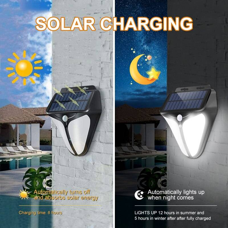 Motion Activated Exterior Solar LED Wall Lamp Solar Powered Security Lights
