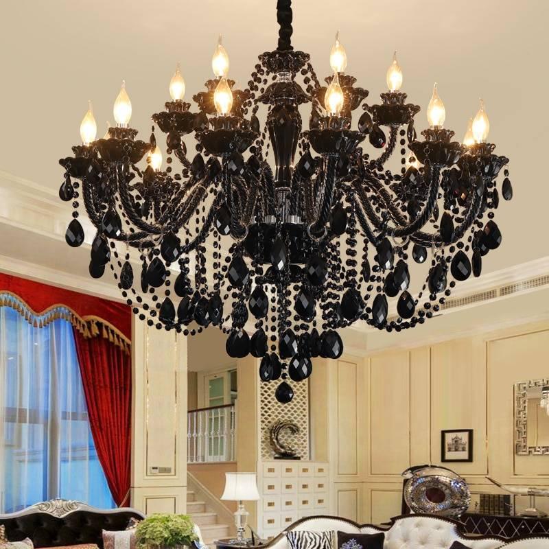 Luxury & Elegant Black Crystal LED Chandelier Chandeliers