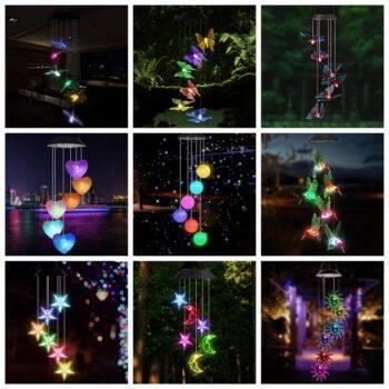 LED Solar Hanging Wind Chime Crystal Light Garden Decorative Lights