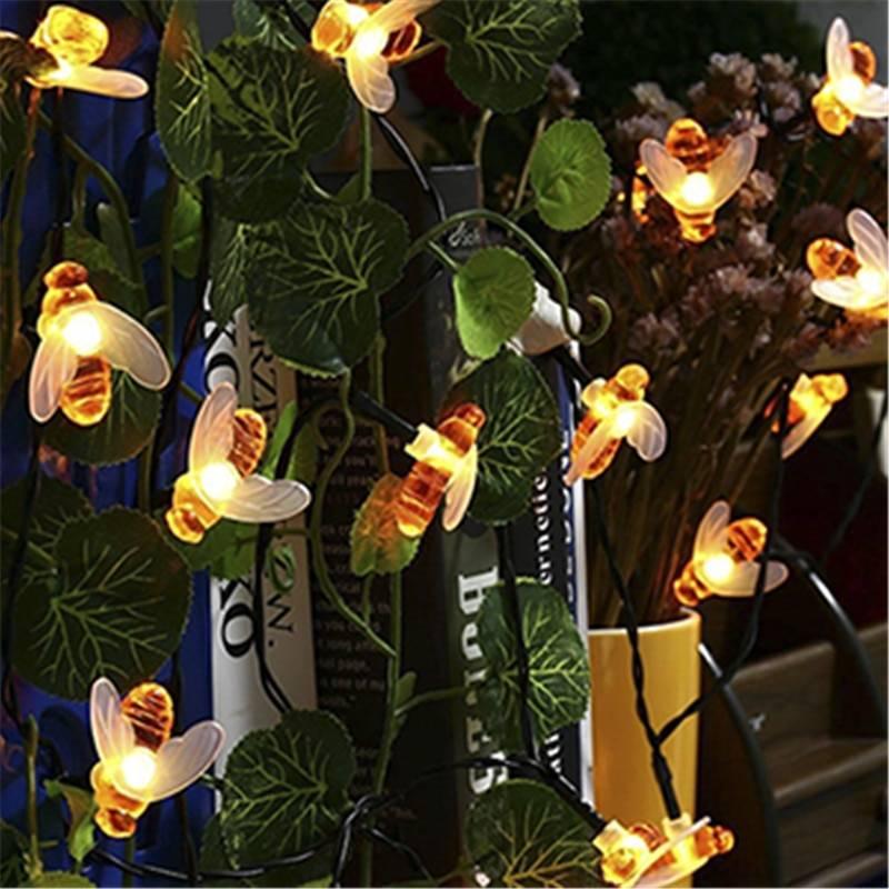 Outdoor Solar Honey Bees Garden String Lamps Garden Decorative Lights