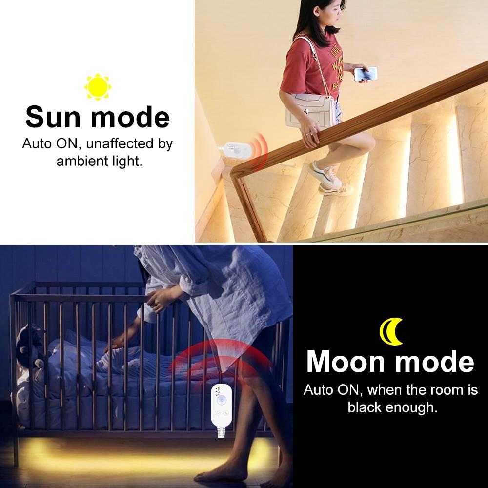 Motion Sensor USB Wireless LED Light Strip   Cabinet Wardrobe Stairs Night Light Night Lamps