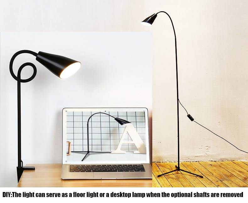 Dimmable Modern LED Floor Lamp | Adjustable Height – Useful as Desk Lamp with Clamp / 360 Degree Rotatable Floor Lamps