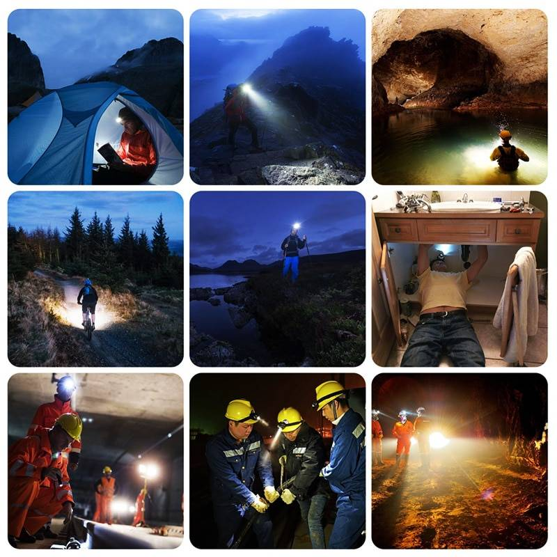 USB Rechargeable 7 LED Torch Head Lamp Flash Lights & Head Lamps
