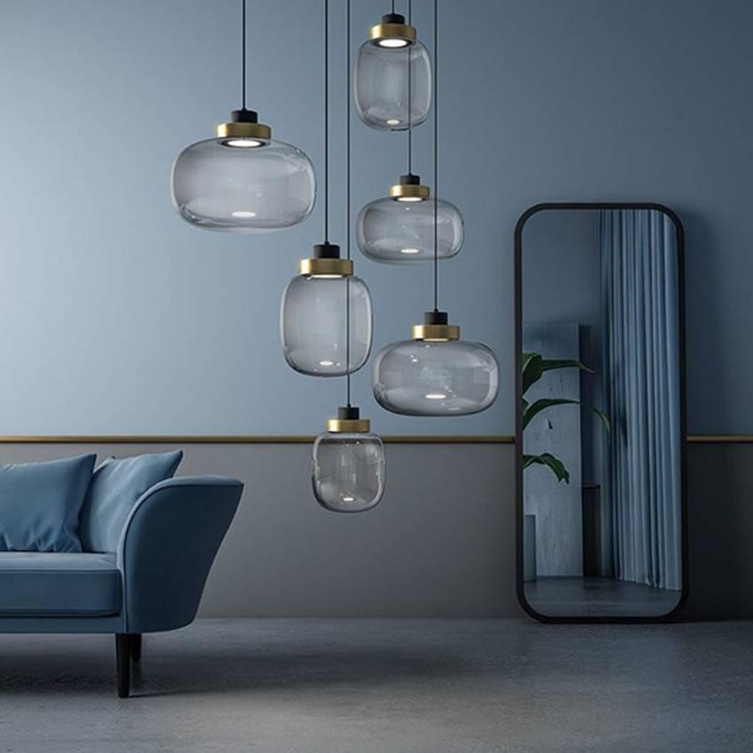 Light Grey Glass Lighting Ceiling Pendant Lights