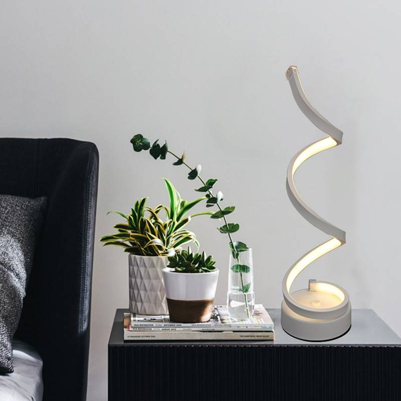 Modern LED Spiral Curved Table Lamp Desk & Table Lamps