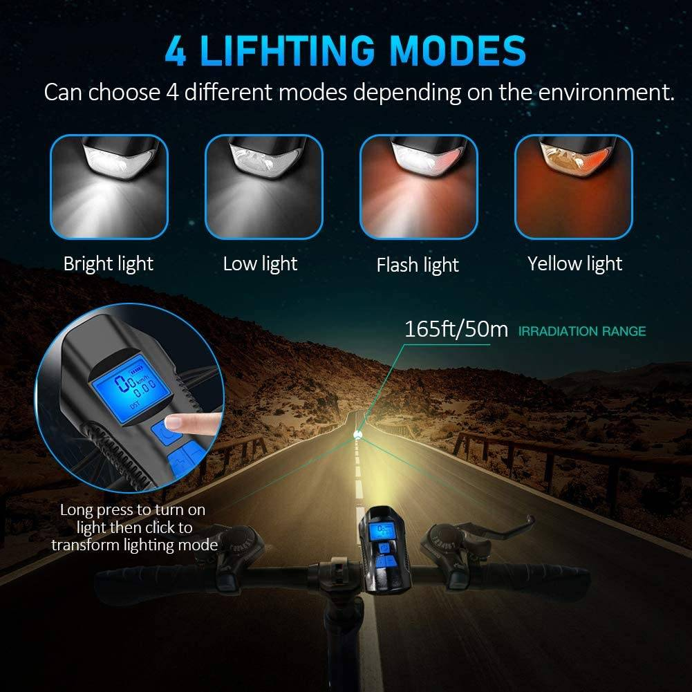 Bicycle Flashlight with LCD Speedometer & Horn Flash Lights & Head Lamps Lighting Tech Gadgets