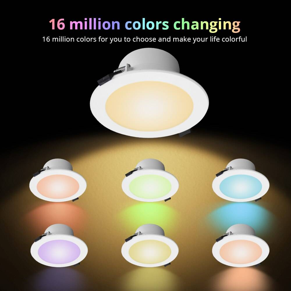 Smart LED RGB Recessed Round Ceiling Spotlight Ceiling Downlights Lighting Tech Gadgets