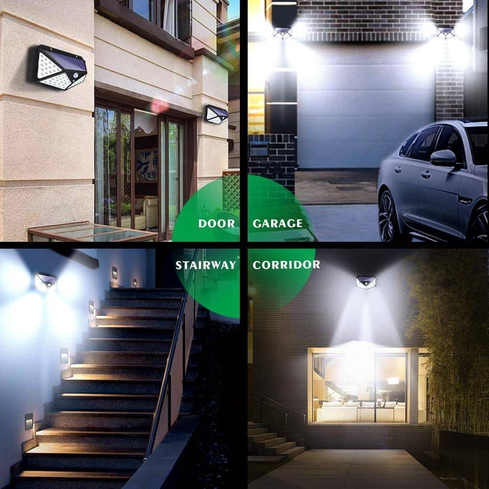 100 Led Solar Light Outdoor Solar Wall Lamp LED Bulb IP65 PIR Motion Sensor Lampara Solar Lighting Garden Decoration Lights Solar Powered Security Lights