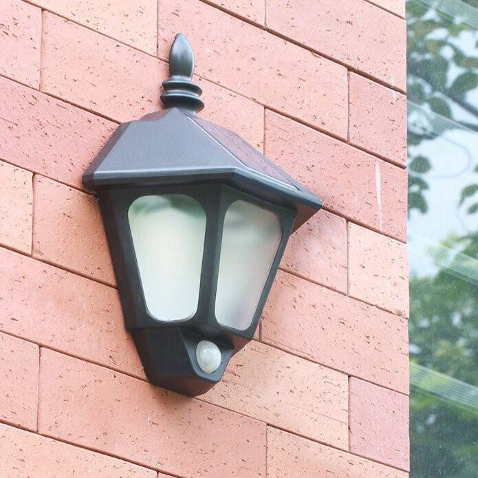 Classic Look Outdoor Solar Motion Sensor LED Wall Lamp Exterior Wall Lamps Solar Powered Security Lights