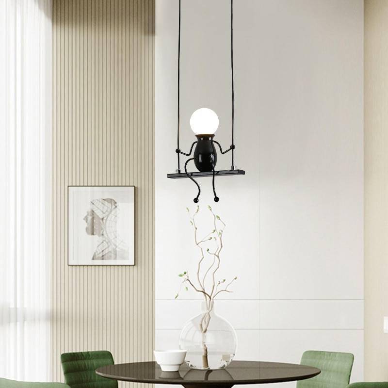 Creative Little Man Swing Pendant Light Modern Hanging Lamp Children's Room Bedroom Beside Metal Cord Pandant Lamps For Kids Pendant Lights