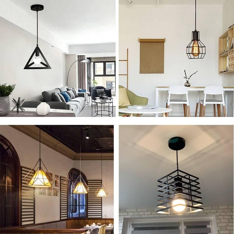 Modern Decor Pendant Light Black Iron Hanging Cage Vintage Led Lamp E27 Light Fixtures for Industrial Loft Kitchen Dinning Room Pendant Lights