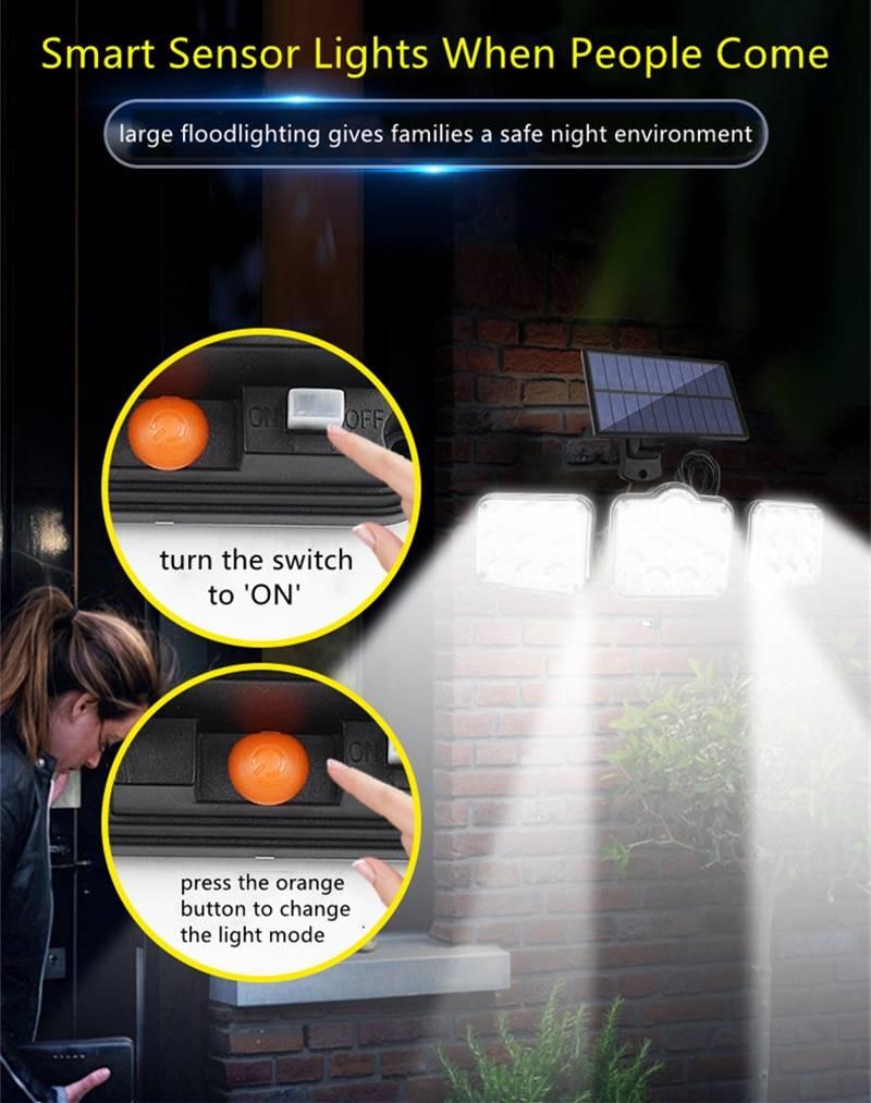 Solar LED Light Outdoor Motion Sensor Solar Powered Garden Lamp 3 Heads Remote Control Waterproof Wall lamp For Garden Street Solar Powered Security Lights