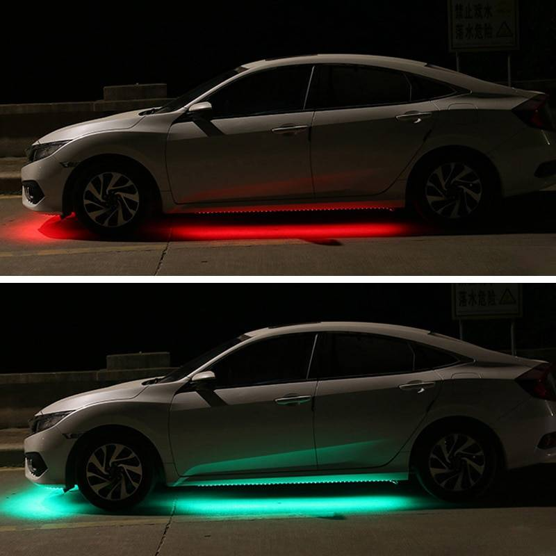 12V Under Car LED Lights Underglow Flexible Strip Lights RGB Atmosphere Lamp Auto Chassis Underbody System Light Car Accessories Lighting Gadgets
