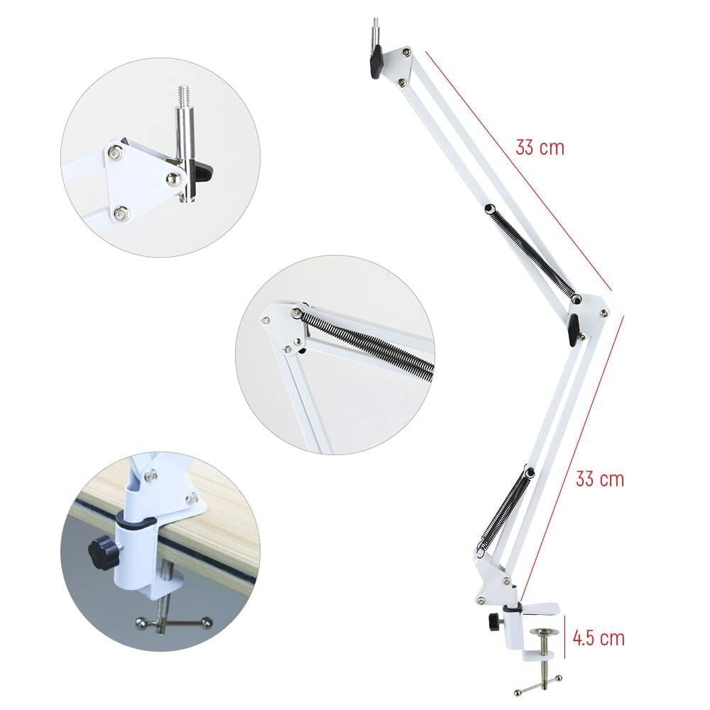 Dimmable Selfie Ring Light with Desk Long Arm Stand Desk & Table Lamps Lighting Gadgets