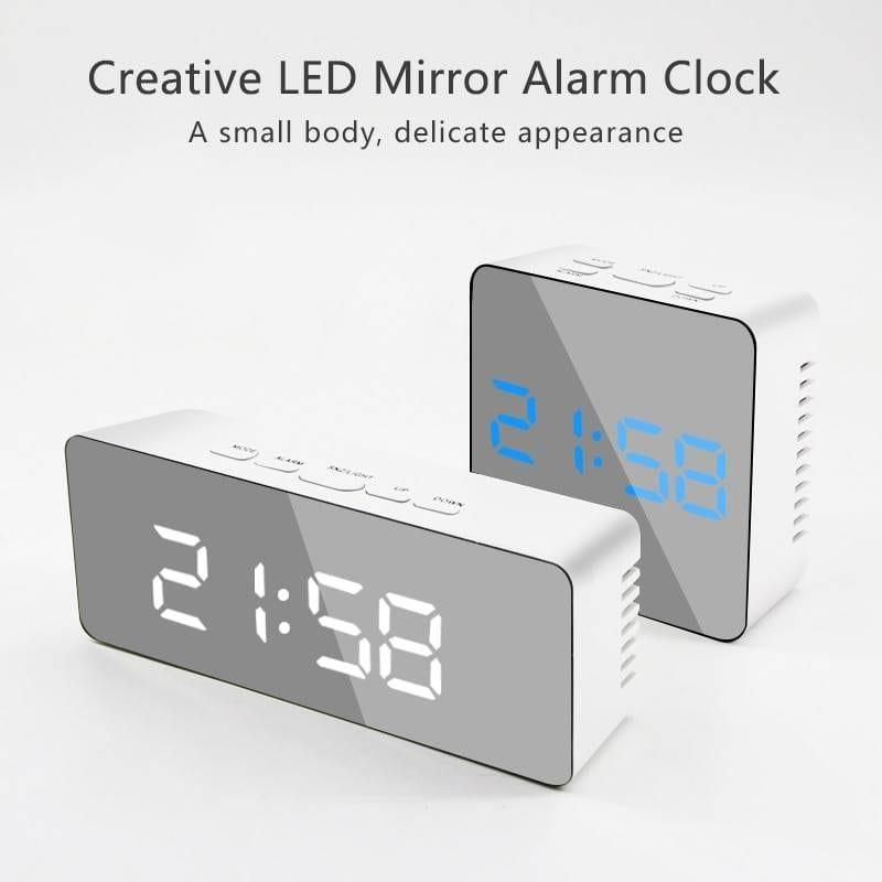 Digital Alarm Clock LED Mirror Night Lights Lighting Gadgets
