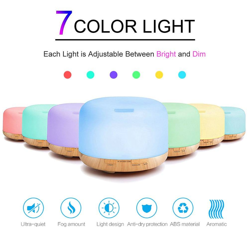 Air Humidifier Essential oil diffuser 300ML 500ML Ultrasonic Cool Mist Maker Fogger Humidifier LED Lamp Aroma Diffuser Electric Night Lamps