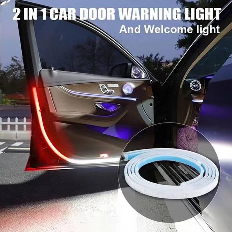 Car Interior Door Welcome Light LED Safety Warning Strobe Signal Lamp Strip 120cm Waterproof 12V Auto Decorative Ambient Lights Lighting Gadgets