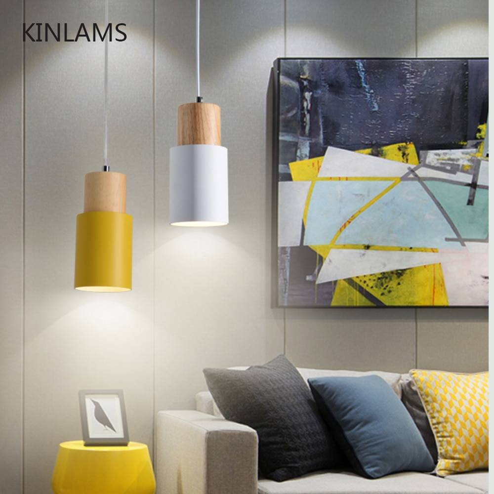 Designer Nordic simple Wood Pendant Lights led hang lamp Colorful Aluminum fixture Kitchen Island bar hotel home decor E27 Pendant Lights
