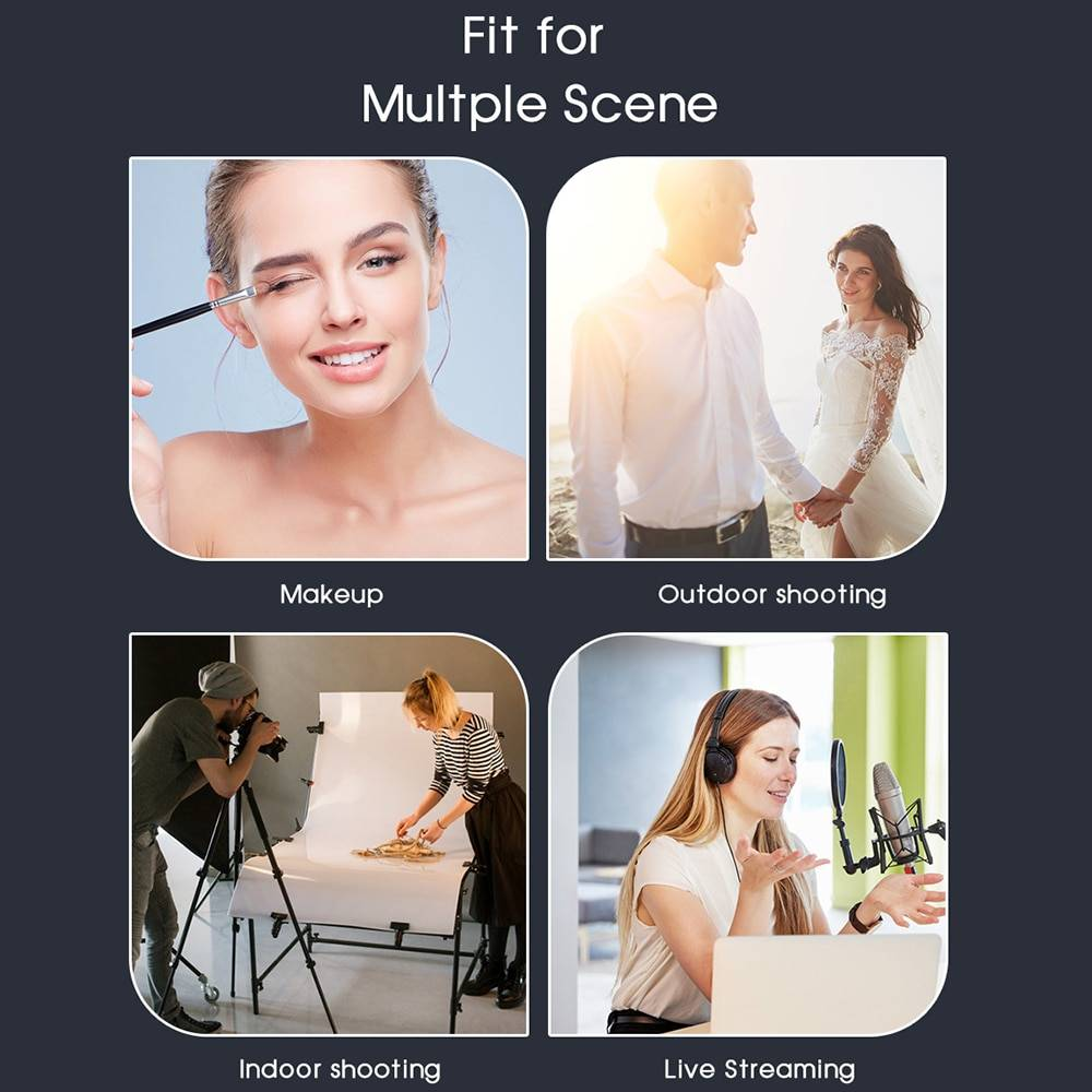 Dimmable LED Selfie Ring Light 3 Color Warm Cold Lamp With Desk Long Arm Phone Holder Stand Photography Light For Photo Studio Lighting Gadgets