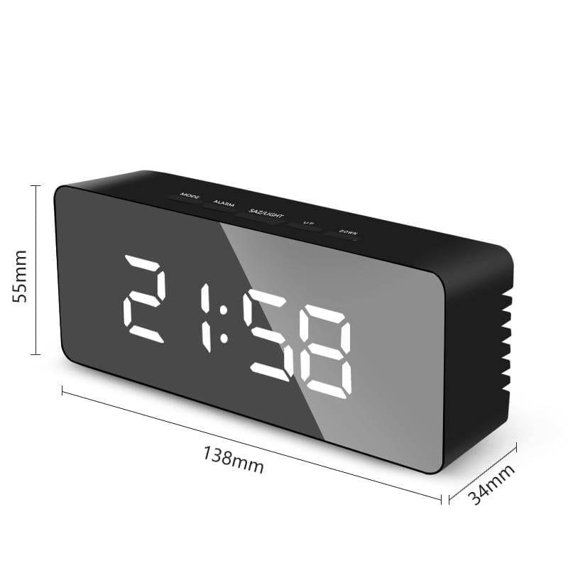 LED Mirror Digital Alarm Clock Night Lights Thermometer Wall Clocks Lamp Square Rectangle Multi-function Table Watch USB/AAA Lighting Gadgets