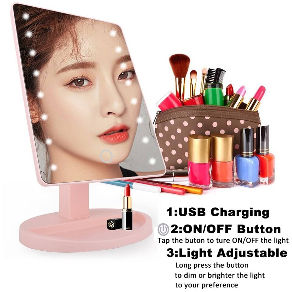 LED Touch Screen USB Charging Lights Makeup Mirror Vanity Lights