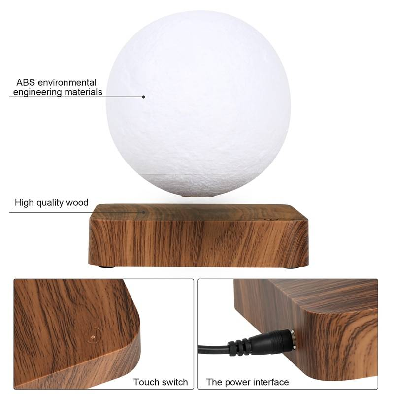 NEW design Creative 3D Magnetic Levitation Moon Lamp Night Light Rotating Led Moon Floating Lamp Home Decoration Holiday Lighting Gadgets