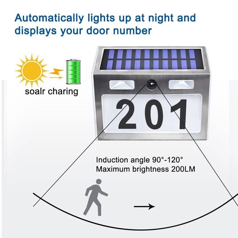 Solar House Number Plaque Light with 200LM Motion Sensor LED Lights Address Number for Home Garden Door Solar Lamp Lighting Solar Powered Security Lights