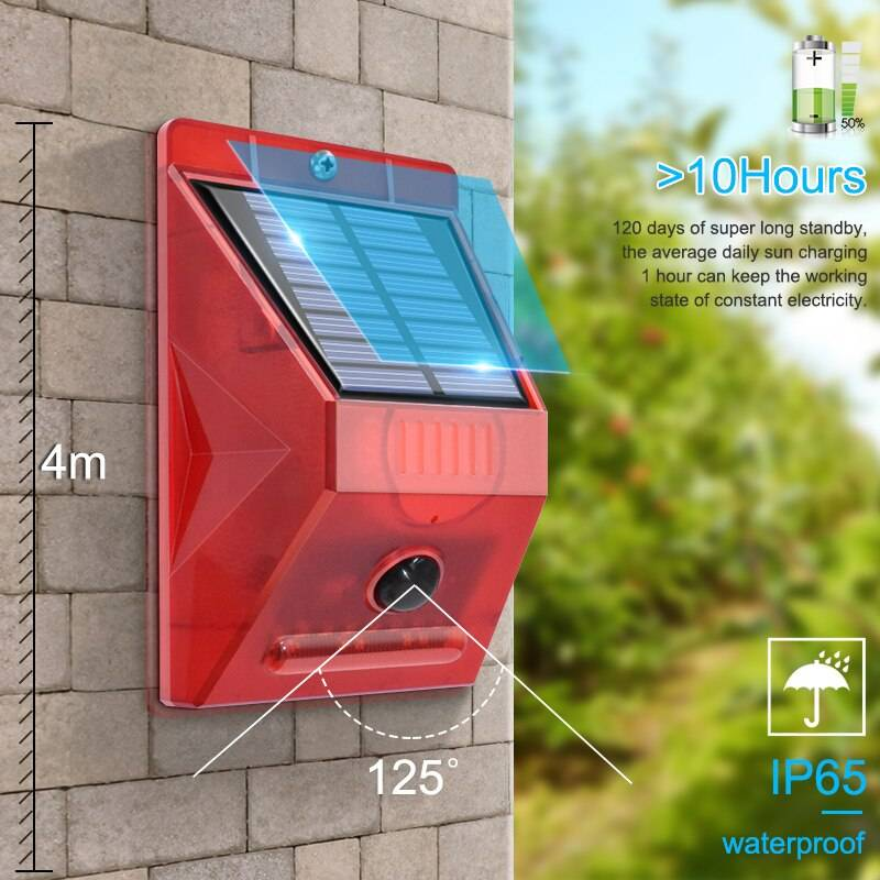 Solar Strobe Light with Motion Detector Remote Controller Solar Alarm Lamp 129db Sound Security Siren Lights IP65 Waterproof Solar Powered Security Lights