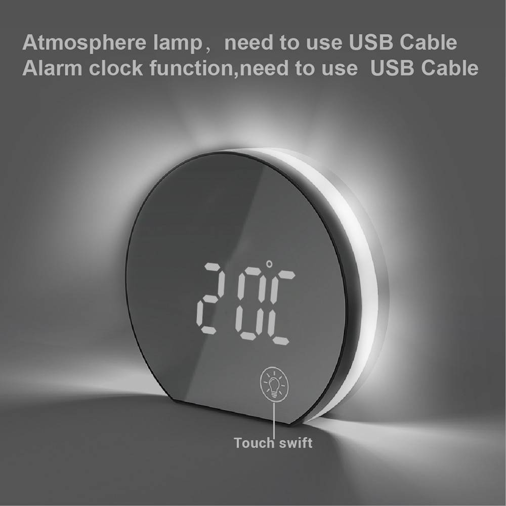 Electronic USB LED Alarm Clock with Mirror Screen and Light Digital Table Bedside clock with Thermometer for Home Office Night Lamps
