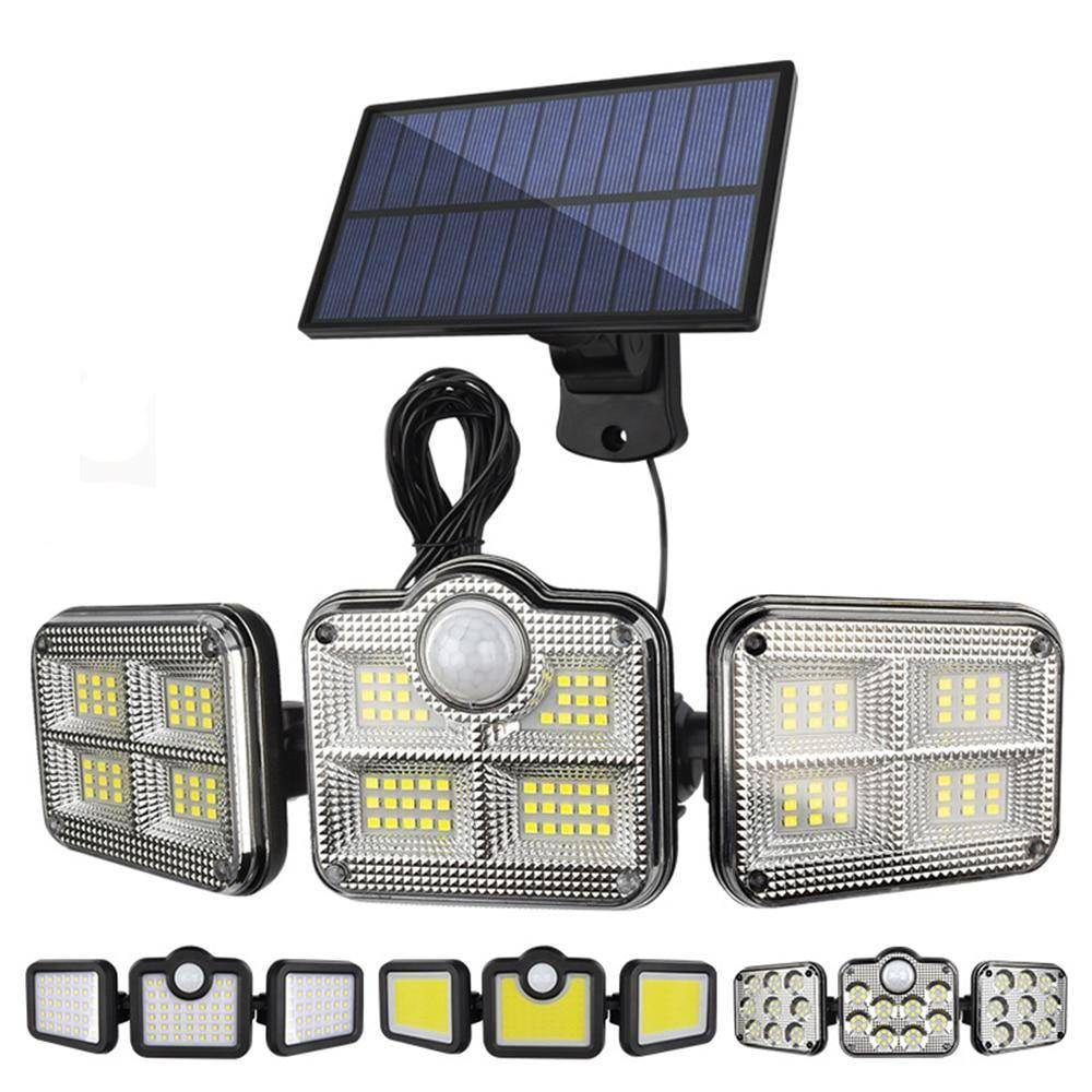 3 Heads Remote Control Solar Security Wall Light Exterior Wall Lamps Solar Powered Security Lights