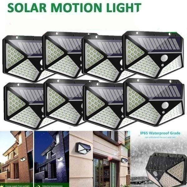 100 LED Solar Motion Sensor Wall Lamp Exterior Wall Lamps Solar Powered Security Lights