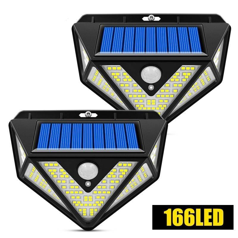 166LED Wide Angle Motion Sensor Solar Light Exterior Wall Lamps Solar Powered Security Lights
