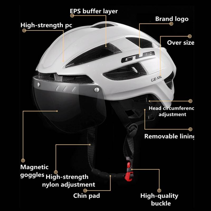 GUB Bicycle Goggles XXL 58-65 Helmet With Light Intergrally-Molded Cycling Headset Road Crash Safety Town Route Open Face Helmet Lighting Gadgets