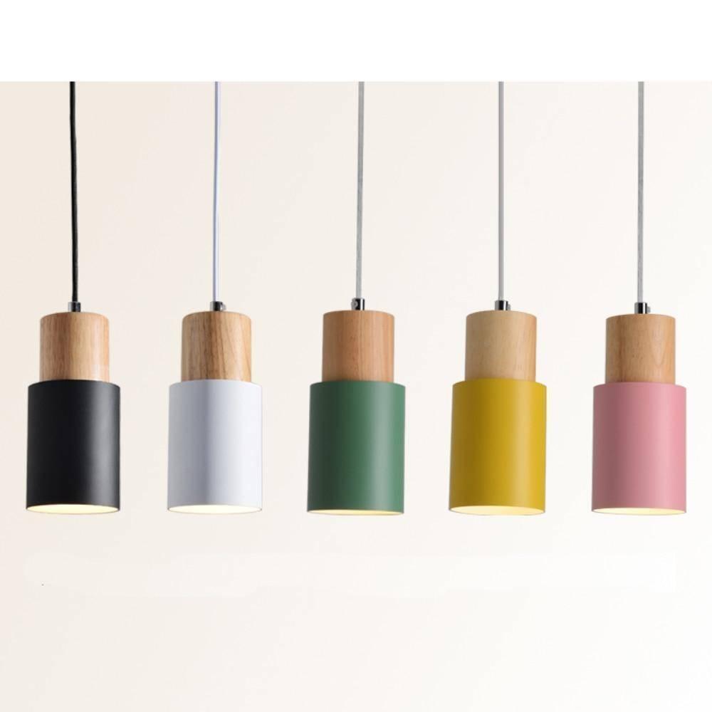 Nordic Wood & Colorful Aluminum fixture Pendant Lights Pendant Lights