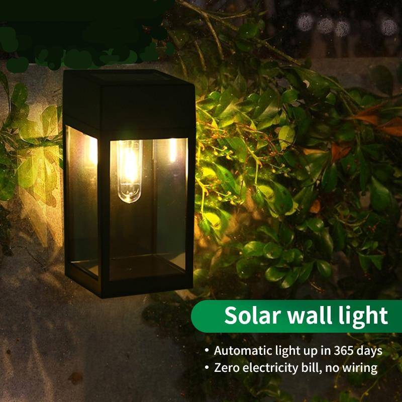 Outdoor Garden Solar LED Vintage Wall Lamp Exterior Wall Lamps Solar Powered Security Lights