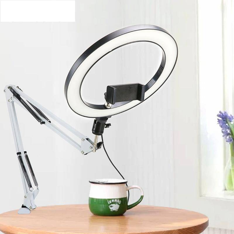 Selfie Ring Light with Desk Long Arm Stand Desk & Table Lamps Lighting Gadgets