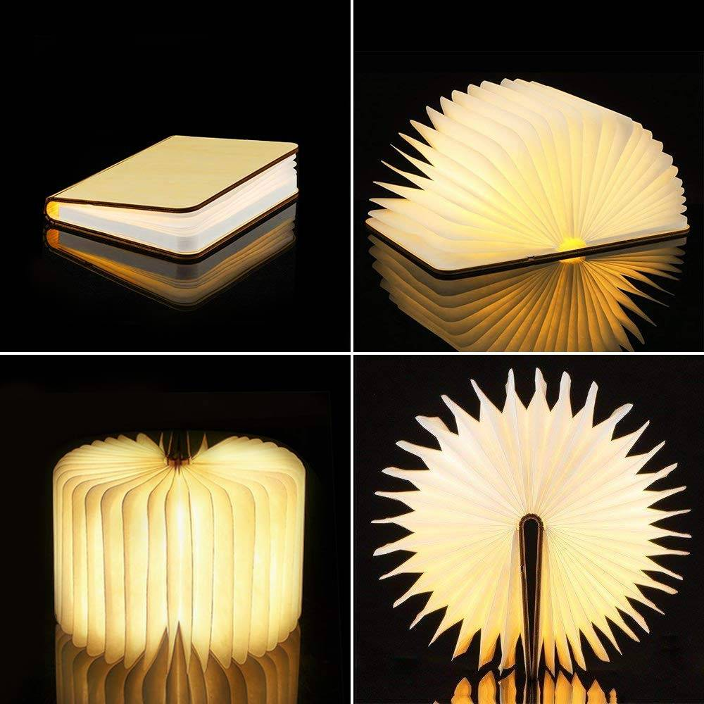 Portable 3 Colors 3D Creative LED Book Night Light Wooden 5V USB Rechargeable Magnetic Foldable Desk Table Lamp Home Decoration Night Lamps