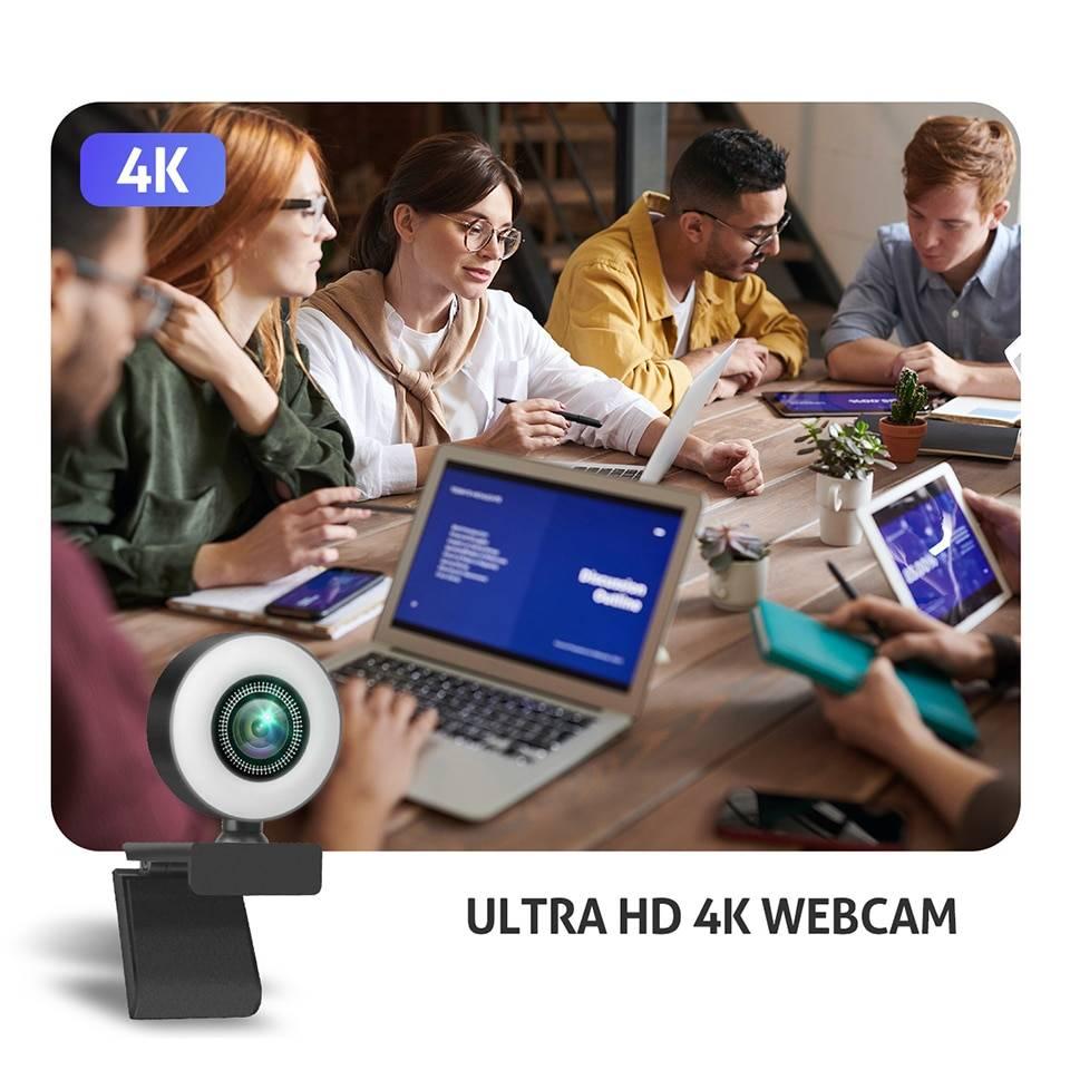 Taida 1080P 2K 4K HD Webcam with Ring Fill Light Laptop PC Computer Live Broadcast Camera Video Web Camera Microphone Web Cam Lighting Gadgets